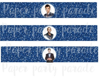 DIY Dr. Who Party Water Bottle Wrappers Labels- TARDIS- INSTANT download, digital file, print at home, birthday party, wedding, Doctor Who