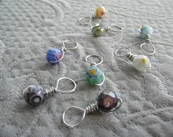 "Stitchmarkers for knitting, set of 8, ""Flower"", up to 6.5 mm needles"
