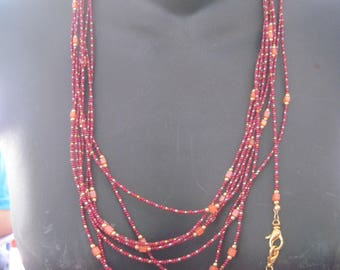 Beautiful Maroon,Gold,Terracotta Mixed Bead OVER SIX FEET Long Necklace..ooak ..hand made ...1628h..Original.. necklace,belt,horse jewelry