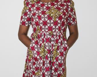 African Print Dress, Gathering Dress, Party Dress, Summer Dress