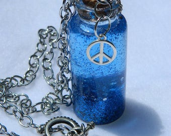 """Peace Serenity Sensory Bottle Blue Shimmer Adult Calming Necklace 20"""" Chain Glitter Motion Peaceful"""