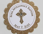 Gold Vintage Cross Baptism-Communion Circular Scalloped Favor Tags - Private Listing
