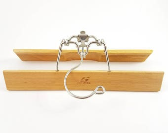 Vintage Wooden Hanger Wood Pants Skirt Clip Clamp Style Setwell Industrial Decor Retro Photo Prop Heavy Duty Extra Hook