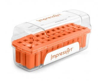 ORANGE Metal Stamp Block Holder, Metal Stamp Storage Container, Use with ImpressArt 6mm stamps, fits 27 stamps up to 10mm square, tol0814