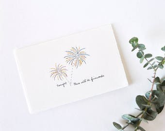 Naughty Wedding Card - Simple Anniversary Card - Fireworks Drawing - There Will Be Fireworks