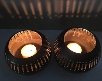 Indian brass candle holder pair round pierced vintage Indian brass exotic set tealight candle holders solid votive detailed vintage ethnic