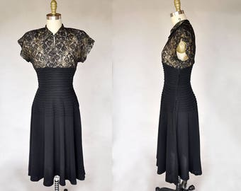 40s black dress | vintage 1940s black illusion lace dress | pleating at waist, cap sleeves, collar