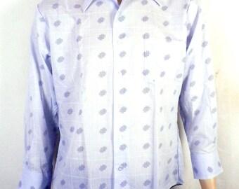 vtg 60s 70s NWOT NOS K-Mart Blue Geometric Dress Shirt butterfly collar DISCO L