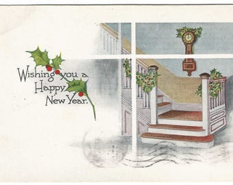 Holly Branches Stairway with vintage clock Holly Garland Vintage Postcard A Happy New Year