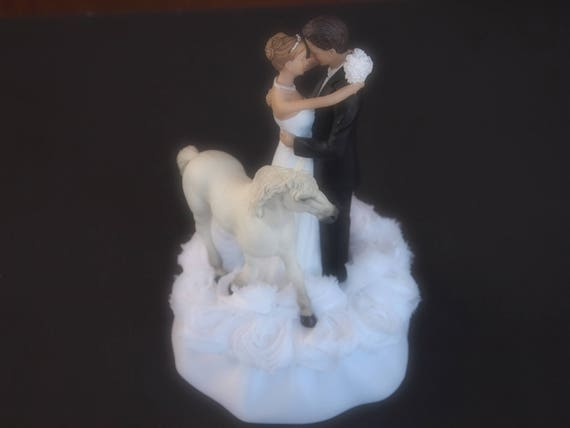 Wedding Cake Topper Horse White Light Gray Black Andalusian Bride and Groom Choose Hair and Flower Colors