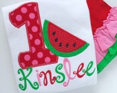 Watermelon birthday shirt, tank top or bodysuit for girls -- Summertime Sweet in pink, green and red watermelon theme