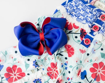 MJ Bows - Pacific Emory - medium bow made to match Matilda Jane Clothing, The Adventure Begins