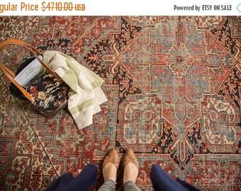 10% OFF RUGS 9x11.5 Vintage Heriz Carpet