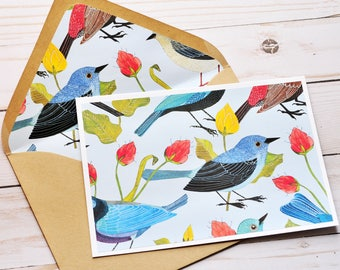 SALE-Blue Bird Note Cards // Set of 4 // Lined Envelopes // Blank Cards // Thinking of You // Love Note // Just Because