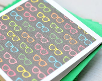 Colorful Glassese Mini Cards // Set of 4 // Blank Cards // Enclosure Cards // Summertime // Love Notes // Patterned Cards