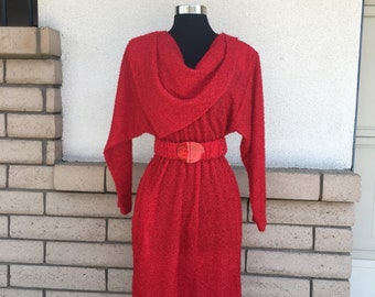 Vintage 80s Nubby Red Dress Shimmery Batwing Draped Scarf Neck Midi Length Size Small
