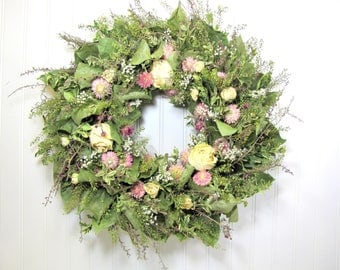 Dried Floral Wreath, Dried Flowers, Wreaths, Dried Floral Decor
