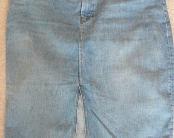 Stretchy denim pencil skirt 42 Massimo Dutti front slit