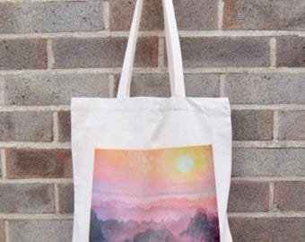 Tote shopping bag ethically produced handprinted with Sunrise painting, custom options