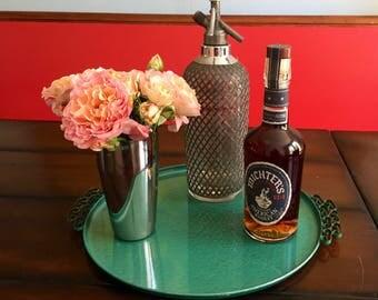 Vintage Moire Glaze Kyes Vintage Tray Mid Century Modern Galm Bar Decor Teal Green Gorgeous