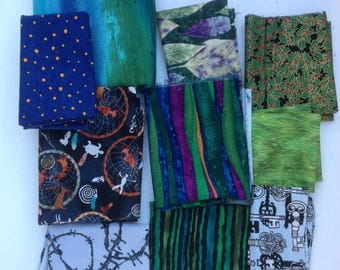 Fabric lot, OOP designs odd sizes barb wire, dreamcatchers, leaves, holly leaves, skeleton keys, grass stripes