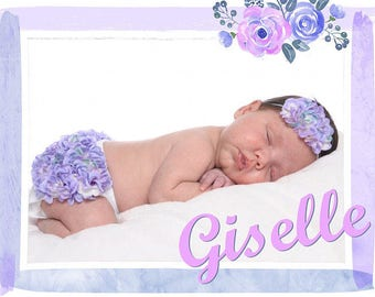 Newborn Photo Outfit, Lavender Hydrangea Diaper Cover & Headband Set, Hydrangea Bloomer, Newborn Girl Photo Prop, Birth Announcement Outfit