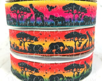 "7/8"", Safari Ribbon, US Designer Ribbon, Glitter Ribbon, Animal Ribbon, Ombre Ribbon, Jungle Ribbon, Wholesale Ribbon, PER YARD"