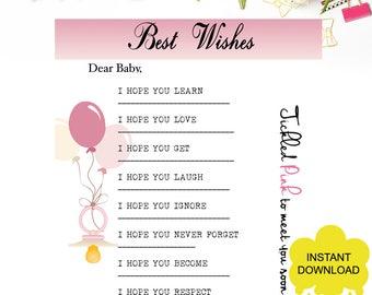 Best Wishes for Baby Cards | Ticked Pink | Instant Download