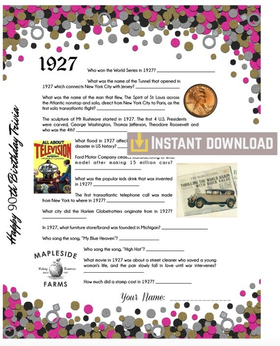 1927 Birthday Trivia Game Birthday Party Trivia Instant