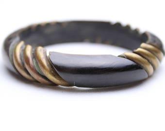 Vintage horn and bronze bracelet cuff
