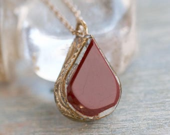 Burgundy Teardrop Necklace - Deep Red Indian Pendant on Short Chain