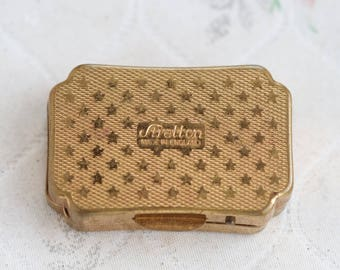 Golden Pill Box - Vintage Made in England By Stratton