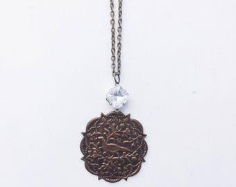 Bird of Paradise Necklace || Long Necklace, Medallion Necklace, Vintage Czech Rhinestone Necklace