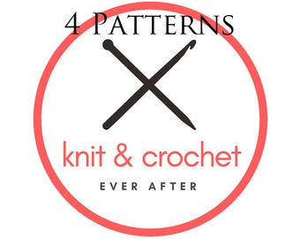 4 Single Knit or Crochet Patterns For 12.99
