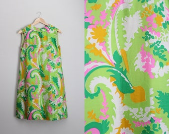 60s Mini Dress / 1960s Groovy Dress / Psychedelic Dress / Pucci Style / Green Pink and Yellow / Sleevesless Dress / Size S/M