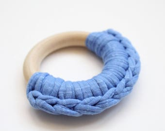 Blue Fabric Yarn Crochet Maple Wood Teether / Teething Ring Toy
