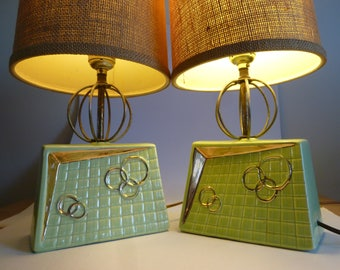 Pair of Atomic Lamps Green and Gold Details with Space Age Sphere Neck