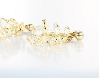 Bezel crystal Earrings, Swarovski Juliana Chandelier Earrings, Clip on vintage jewelry
