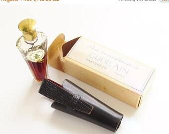ON SALE Vintage Shalimar French Perfume Umbrella Bottle in Leather Case Original Box Paris France 1/4 oz (7.5 ml)