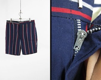 Vintage 60s Pinstripe Shorts Navy Blue Golf Flat Front Cotton Summer Menswear - Size 34