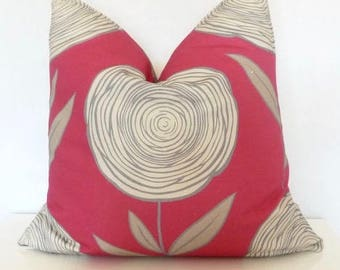 Red Grey Modern Abstract Flower Throw Pillow, Accent Pillow, Modern Decor, Sketch Print Pillow Cover, PillowSplashStudio