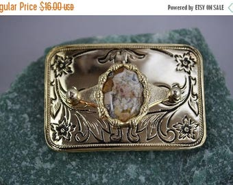 Christmas In July - Rectangle Bright Gold Plated Belt Buckle - BB0030