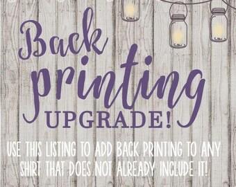 Back Printing Add On - Upgrade