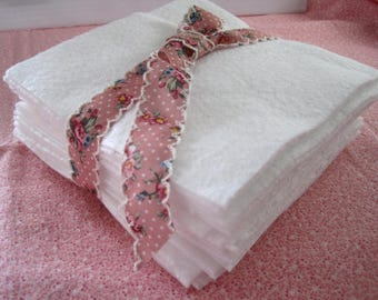 Cotton Batting - 6 inch Squares - 24 Pre-Cut Warm and White Cotton batting squares -  Rag Quilts, Mug rugs, Coasters, Quilting supplies