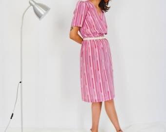 80s Pink Geometric Dress