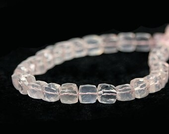 SUMMER SALE Rose Quartz Faceted 3D Cube Beads 2 Pale Pink Semi Precious Gemstone