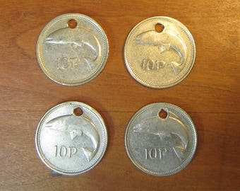 Holed Irish 4 Coin Lot, 10 pence coins of 1993,1994, 1995, Ireland lot,craft supply supplies, jewelry making,matching charm,salmon,fish,hole