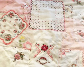 RESERVED, Baby Blanky, pink handkerchiefs, soft crib quilt for baby, vintage hankies, pink and white, flowers, roses