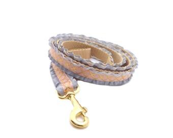 Gold Dog Leash in Quatrefoil Gold Print, Ruffle Girly Leash in Light pink