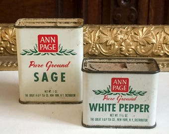 Ann Page (A&P) Spice Tins from 1950s Sage and White Pepper
